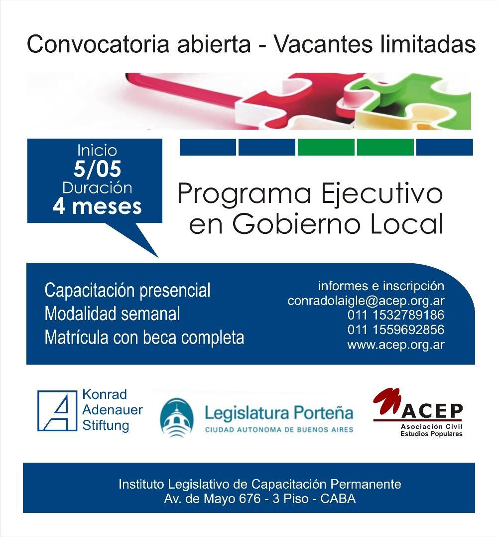 Flyer Programa Ejecutivo en Gobierno Local Legislatura CABA